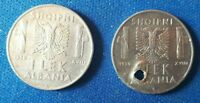 ALBANIA COINS 1 LEK 1939 MAGNETIK AND  NOT MAGNETIC 2 PCS ALBANIAN OCCUPATION.