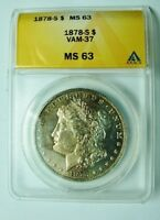 1878 S BU MORGAN DOLLAR VAM 37 DOUBLED UNUM ENGRAVED WING FEATHER TONED HI GRAD