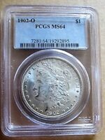 1902 O MORGAN DOLLAR VAM 51 A PCGS MINT STATE 64 DOUBLED REVERSE LEGEND, CLASHED OBV.