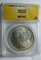 1900 O BU MORGAN DOLLAR VAM 23C HIGH O, DIE BREAK ES ANACS MINT STATE 63