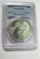 1904 O BU MORGAN DOLLAR VAM 1B3 PITTED REBERSE PCGS MINT STATE 64 ONLY 1 FINER