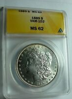 1889 P BU MORGAN DOLLAR VAM 1D2 DIE SCRATCH COTTON LEAF, CLASHED OBVERSE N & T