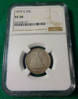1875 S SEATED LIBERTY 20 CENT PIECE NGC VF 20   K1255