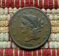 1839 CORONET LARGE CENT     BOOBY HEAD    TOUGH IN THIS GRADE