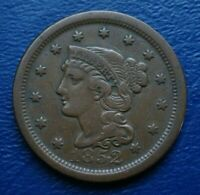 1852 BRAIDED HAIR LARGE CENT, VF