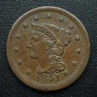 1851 BRAIDED HAIR LARGE CENT, ABOUT UNCIRCULATED    SUPERB EXAMPLE