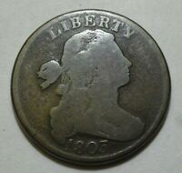 1803 DRAPED BUST LARGE CENT, VG    S-260, SMALL DATE, LARGE FRACTION, STEMS