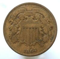 1864 TWO-CENT PIECE, F    UNUSUAL CIVIL WAR ISSUE