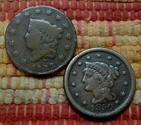 1822 CORONET & 1850 BRAIDED HAIR LARGE CENTS    $19.99 FOR BOTH