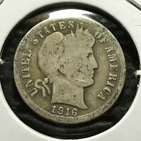 1916 US. SILVER BARBER DIME /  GOOD