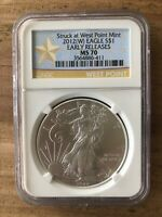 FREE SHIP 2012W EAGLE S$1 STUCK AT WEST POINT MINT EARLY RELEASE MS 70 NGC