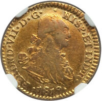 1819/8 NR-JF COLOMBIA FERDINAND VII GOLD ESCUDO NGC EXTRA FINE 45   OVERDATE