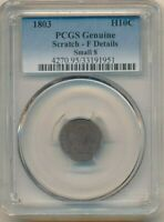 1803 DRAPED BUST SILVER HALF DIME-SMALL 8- PCGS GRADED F DETAILS FREE S/H