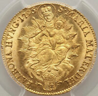 FRANZ II AUTHENTIC MINT STATE AUSTRO HUNGARIAN GOLD DUCAT PCGS MS61 RADIANT GOLD