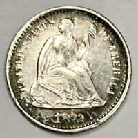 1872-S LIBERTY SEATED HALF DIME  ABOUT UNCIRCULATED -