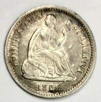 1869-S LIBERTY SEATED HALF DIME 5C  FINE - ABOUT UNCIRCULATED
