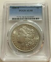 1886-S MORGAN SILVER DOLLAR  PCGS AU58   LOOKS UNDER GRADED