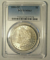 1880-CC $1 SILVER MORGAN DOLLAR, CERTIFIED BY PCGS MINT STATE 63