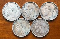 OLD BELIUM 5 FRANC SILVER COIN OF 5