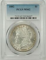1882-P $1 MORGAN SILVER DOLLAR PCGS MINT STATE 62 39196007 -  GREAT LOOKING BU COIN