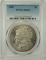 1882-P $1 MORGAN SILVER DOLLAR PCGS MINT STATE 63 39196037 - BETTER DATE / EYE APPEAL