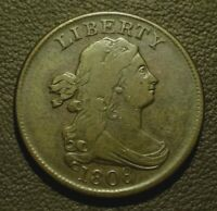 1808 DRAPED BUST HALF CENT, VF/EXTRA FINE     FULLY ROTATED REVERSE    PREMIUM COIN