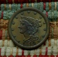 1849 BRAIDED HAIR HALF CENT, AU/UNC     EXAMPLE OF A TOUGH KEY