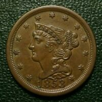 1853 BRAIDED HAIR HALF CENT, UNCIRCULATED    STUNNING COLORS