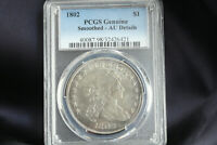 1802 DRAPED BUST SILVER DOLLAR. PCGS AU 50 DETAIL GRADED, GREAT LOOKING.