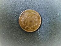 1868 TWO CENT PC UNCERULATED CONDITION