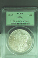1887-P MORGAN SILVER DOLLAR PCGS CERTIFIED MINT STATE 64 GEM IN OLD GREEN SLAB