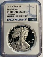 2018 W SILVER EAGLE EARLY RELEASES BLUE LABEL PF 69 ULTRA CAMEO  COIN 074