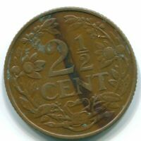 1956 CURAAO PAYS-BAS2 1/2 CENTS BRONZE COLONIAL COIN S10167.FW