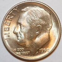 1950-S ROOSEVELT DIME   BU - 90 SILVER -      0043
