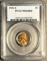1931-S LINCOLN WHEAT CENT. PCGS MINT STATE 64 RED.