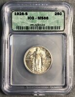 1928-S STANDING LIBERTY QUARTER. ICG MINT STATE 66.