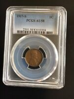1917 S PCGS AU58 LINCOLN WHEAT CENT