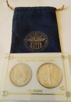 100 YEARS US SILVER DOLLARS 1886 & 1986 UNC MORGAN & SILVER EAGLE CAPITOL HOLDER