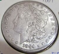 1884 MORGAN SILVER DOLLAR EF 521