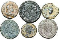 6 UNCLEANED LATE ROMAN BRONZE COINS DIFFERENT RULERS AND DIFFERENT REVERSES