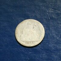 1891 S SEATED LIBERTY SILVER DIME  AG DETAILS  SHIPS FREE