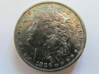 1886 MORGAN SILVER DOLLAR PHILADELPHIA MINT $1 COIN MS COLOR TONED BLUE GREEN