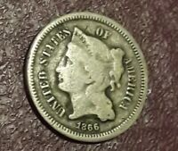 US 1866 THREE CENT NICKEL COIN