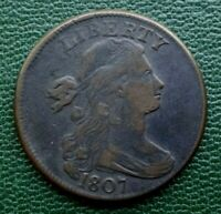 1807 DRAPED BUST LARGE CENT, VF    ROTATED REVERSE    , INVESTMENT GRADE