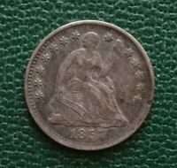 1857 SEATED LIBERTY HALF DIME, EXTRA FINE