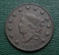 1822 CORONET LARGE CENT    TOUGH YEAR IN CHOICE GRADE
