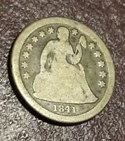 1841 O SEATED LIBERTY DIME, COIN,LOOK PICS