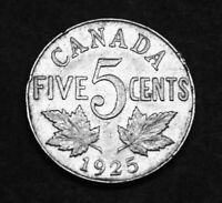 1925 CANADIAN 5 COIN THAT HAS GREAT DETAILS.  CROWN SHOWS BETTER THAN MOST