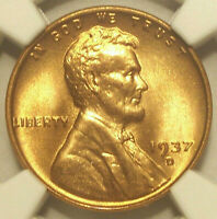 1937 D LINCOLN WHEAT CENT GEM MINT STATE 66 RD