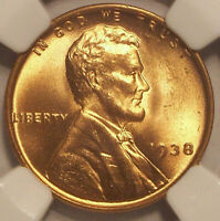 1938 LINCOLN PENNY GEM MINT STATE 66 RED NGC